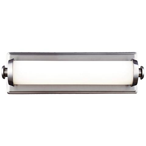 """Feiss Edgebrook 15"""" Wide Satin Nickel LED Wall Sconce"""