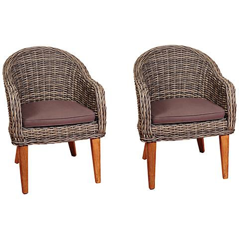 Gaeta Distressed Gray Outdoor Armchair Set of 2