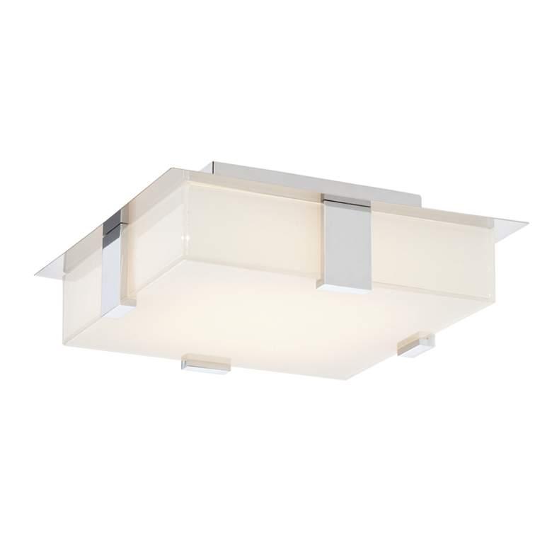 "Possini Euro Reda 12"" Square Chrome LED Ceiling Light"