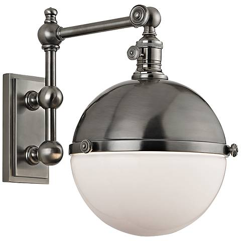 """Hudson Valley Stanley Antique Nickel 14"""" High Wall Lamp"""