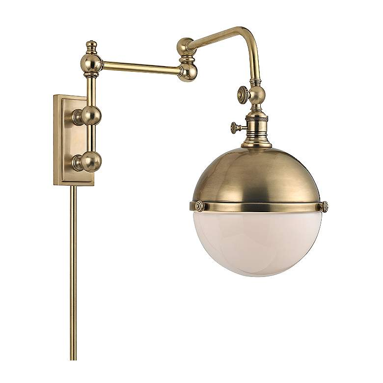 """Hudson Valley Stanley Aged Brass 17 1/2"""" High Wall Lamp"""
