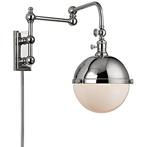 "Hudson Valley Stanley Polished Nickel 17 1/2"" High Wall Lamp"