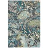 "Surya Aberdine 7'6"" x 10'6"" Teal Blue and Gray Area Rug"
