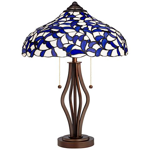 Iris Blue Tiffany Style Art Glass Harpo Iron Table Lamp
