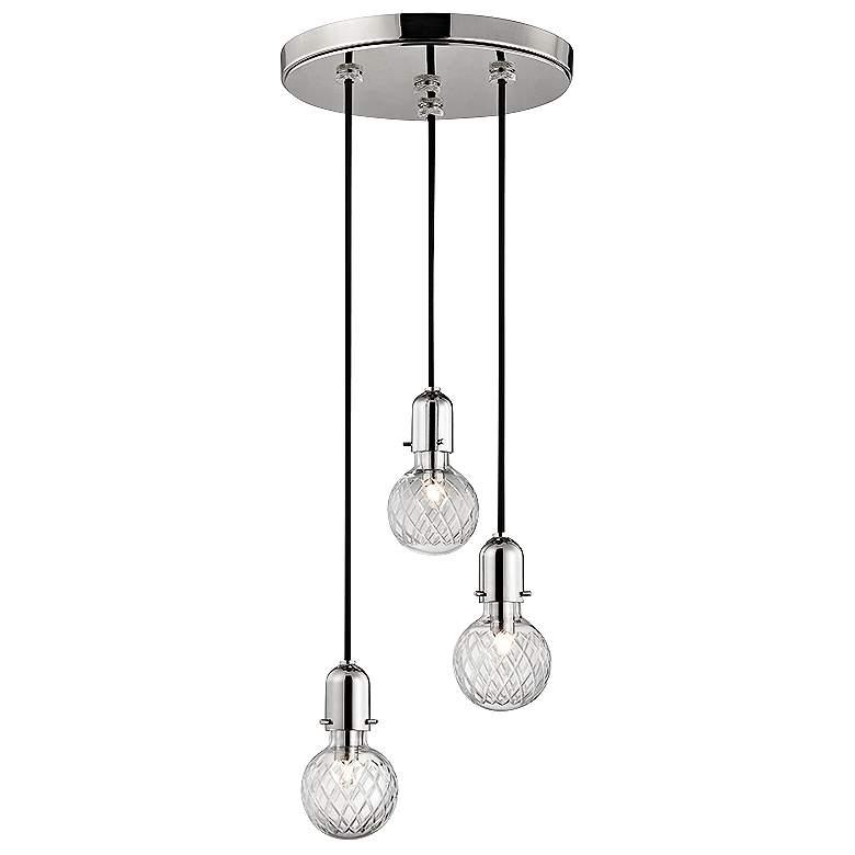 "Hudson Valley Marlow 10""W Nickel 3-Light Glass Pendant"