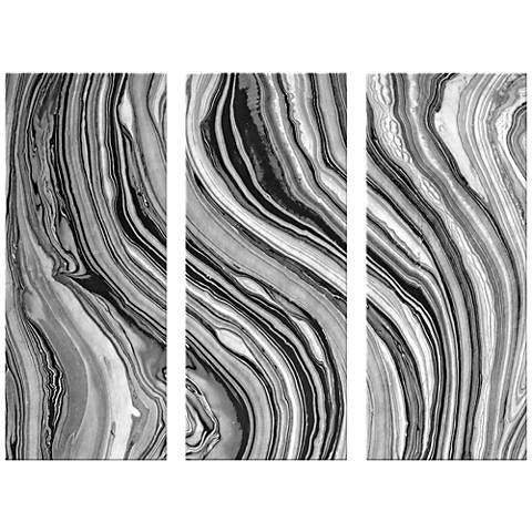 "Marble Triptych 17 1/2""x42"" Set of Three Canvas Wall Art"
