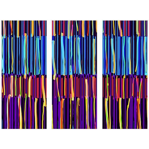 "Stripes Triptych 17 1/2""x42"" Set of Three Canvas Wall Art"
