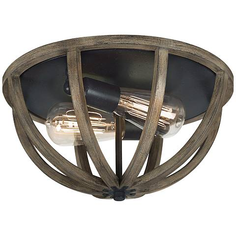 "Feiss Allier 13"" Wide Weathered Oak Wood Ceiling Light"