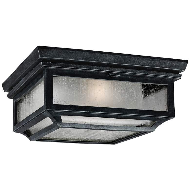 "Feiss Shepherd 13""W Weathered Zinc Outdoor Ceiling Light"