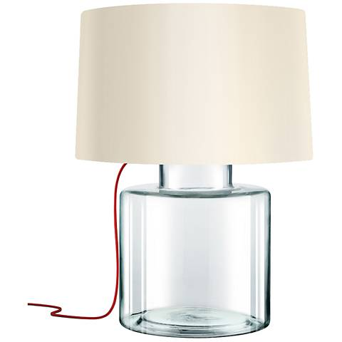 Sonneman Grasso Red French Wired Clear Glass Table Lamp