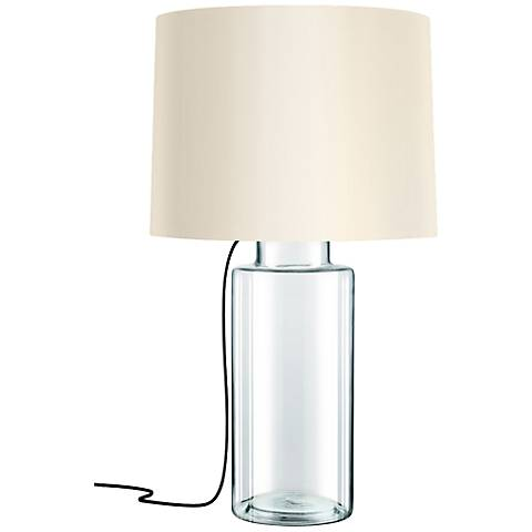 Sonneman Vaso Black French Wired Clear Glass Table Lamp
