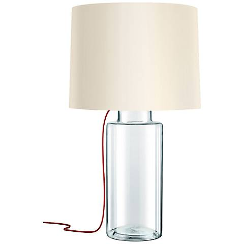 Sonneman Vaso Red French Wired Clear Glass Table Lamp