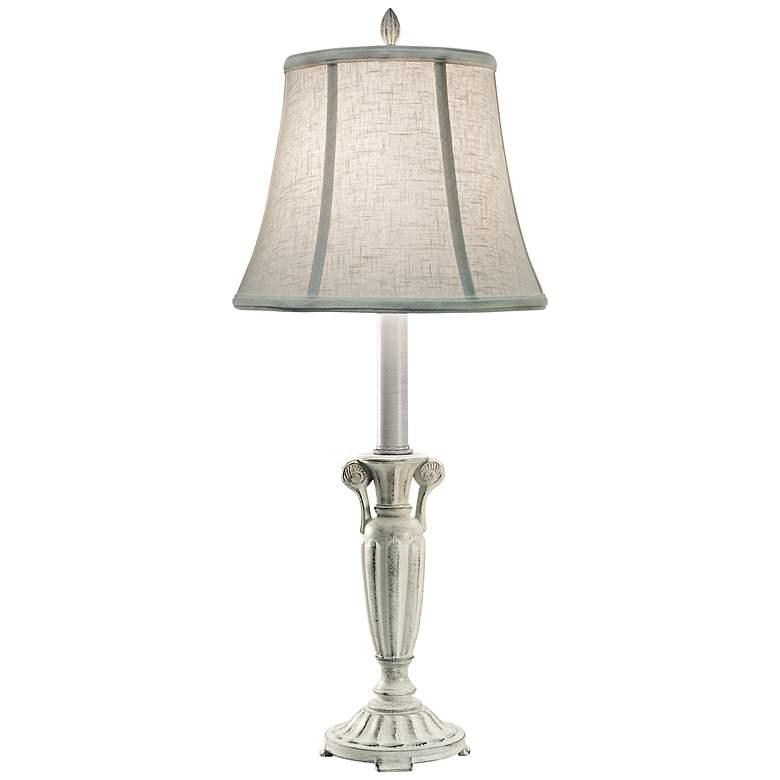 Stiffel Distressed White Metal Buffet Table Lamp