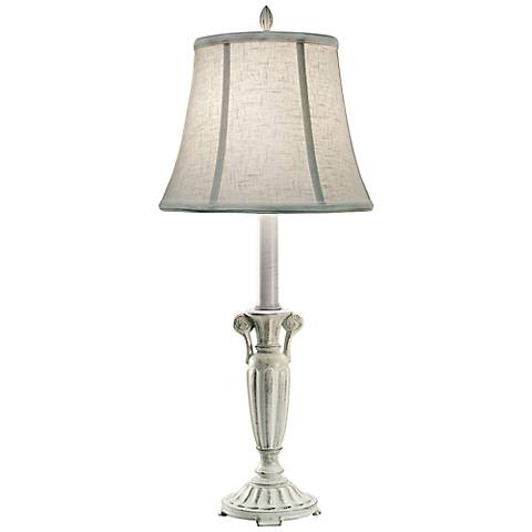 Stiffel Distressed White Metal Buffet Table Lamp