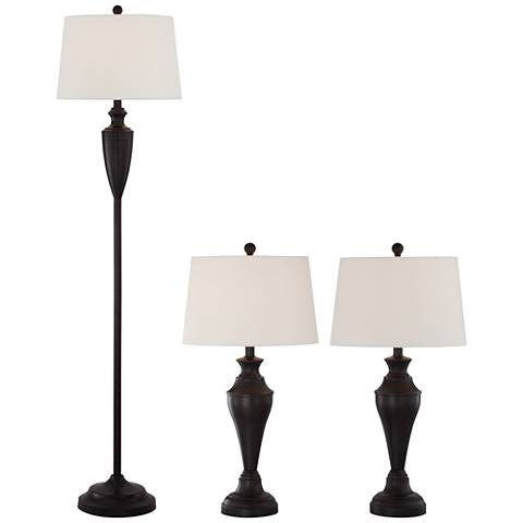Denny Bronze 3-Piece Floor and Table Lamp Set