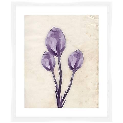 """Purple Watercolor Flowers II 26 1/2"""" High Framed Wall Art"""