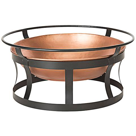 "Bonaire Black Strap 28"" Wide Copper Bowl Fire Pit"