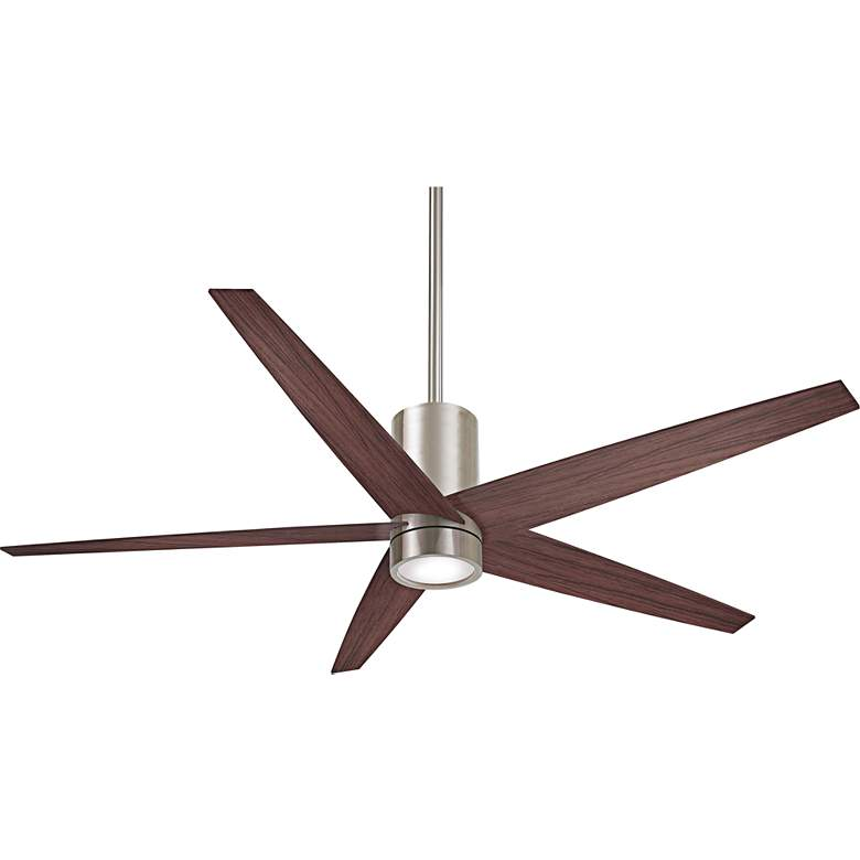 "56"" Minka Aire Symbio Walnut - Nickel LED Ceiling Fan"