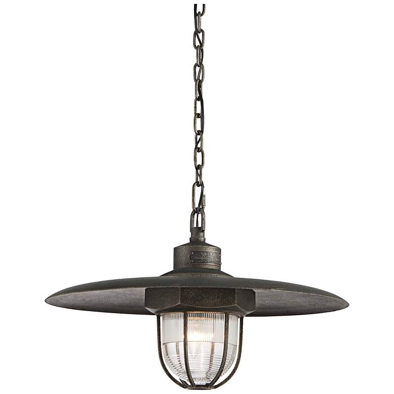 """Acme 22"""" Wide Pressed Glass 1-Light Aged Silver Pendant"""