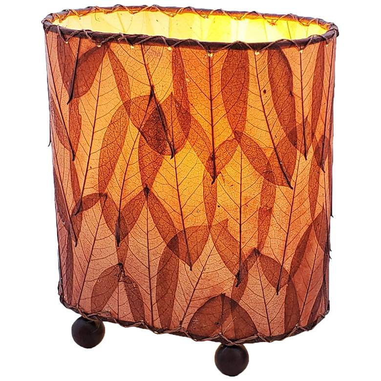 "Eangee 9""H Guyabano Burgundy Mini Uplight Accent Table"