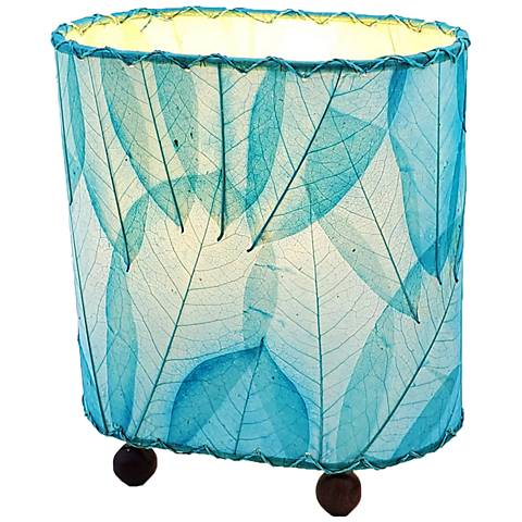 "Eangee 9""H Guyabano Sea Blue Mini Uplight Accent Table Lamp"