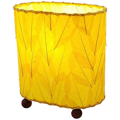 "Eangee 9""H Guyabano Yellow Mini Uplight Accent Table Lamp"