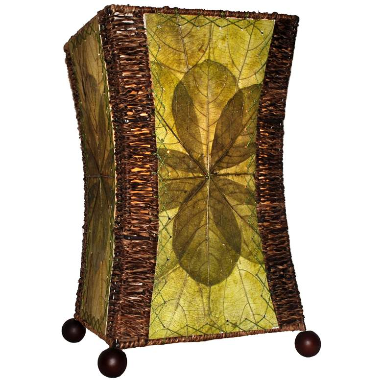 Eangee Hour Glass Green Cocoa Leaves Uplight Table Lamp
