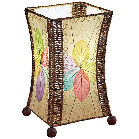 Eangee Hour Glass Multi-Color Cocoa Leaves Uplight Table Lamp