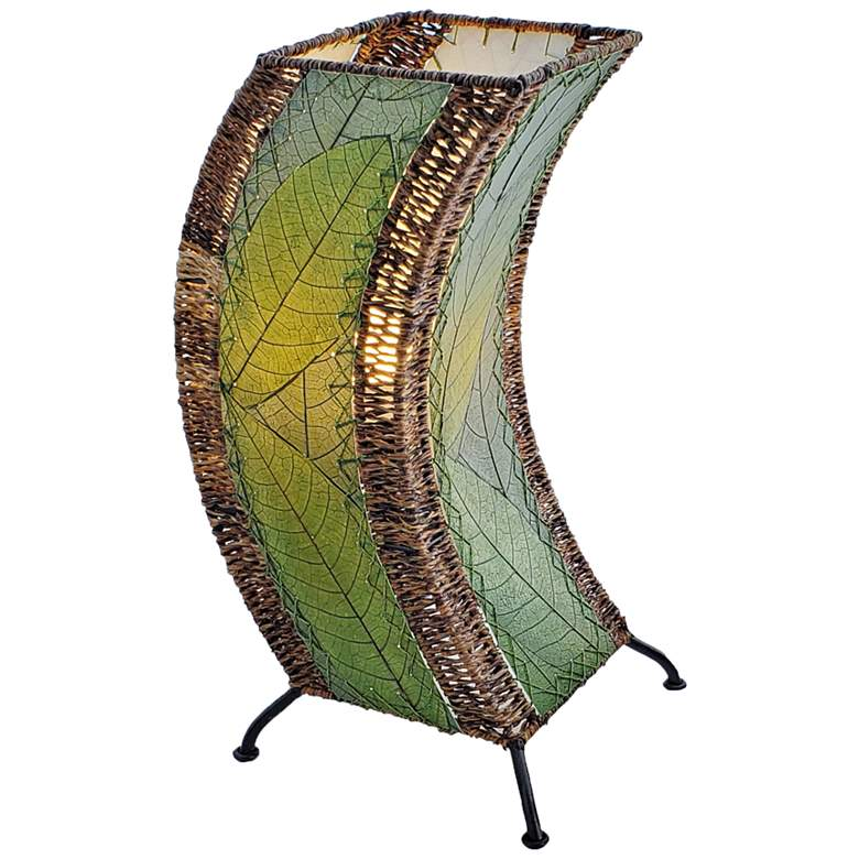 Eangee C-Shape Green Cocoa Leaves Uplight Accent Table Lamp