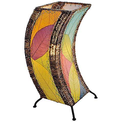 Eangee C-Shape Multi-Color Cocoa Leaves Uplight Table Lamp