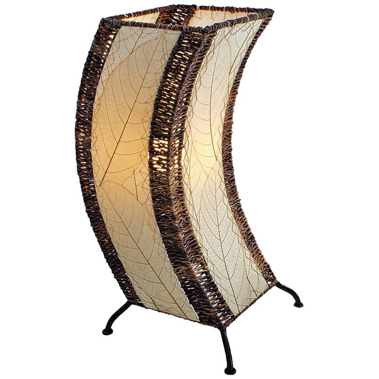 Eangee C-Shape Natural Cocoa Leaves Uplight Table Lamp