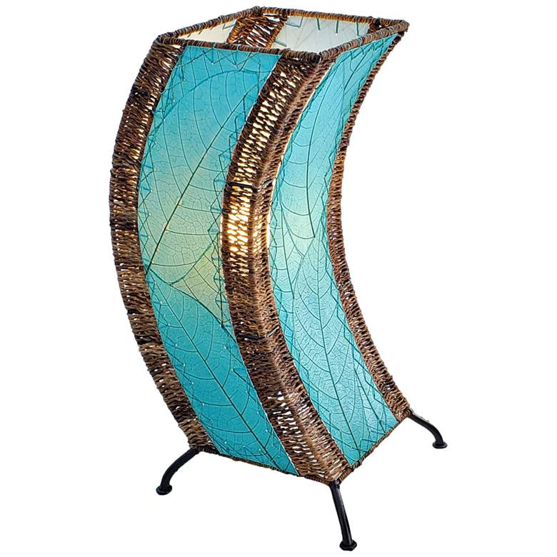 Eangee C-Shape Sea Blue Cocoa Leaves Uplight Table