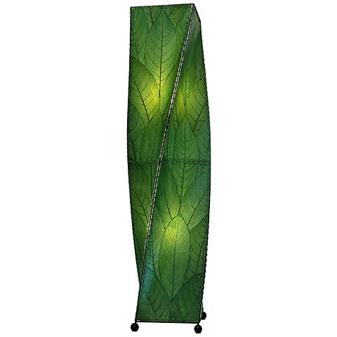 Eangee Twist Green Cocoa Leaves Large Tower Floor Lamp