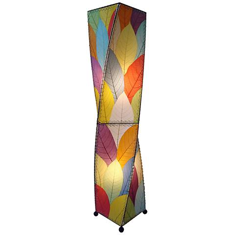 Eangee Twist Multi-Color Cocoa Leaves Large Tower Floor Lamp