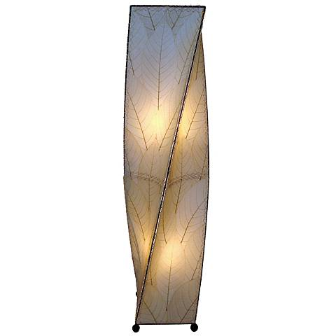 Eangee Twist Natural Cocoa Leaves Large Tower Floor Lamp