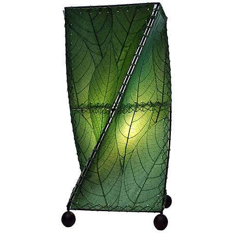 Eangee Twist Green Cocoa Leaves Uplight Accent Table Lamp
