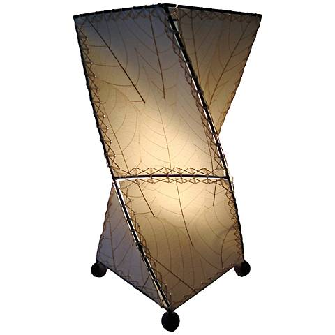 Eangee Twist Natural Cocoa Leaves Uplight Accent Table Lamp