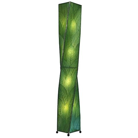 Eangee Twist Green Cocoa Leaves Giant Tower Floor Lamp