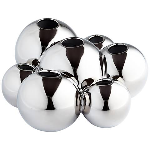 """Bubbles 14"""" Wide Chrome Ceramic Vase"""