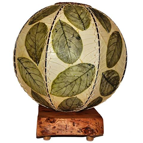 Eangee Driftwood Green Cocoa Leaves Orb Accent Table Lamp