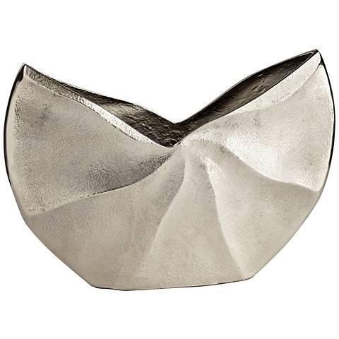"""Varix Medium 12"""" Wide Raw Nickel Vase"""
