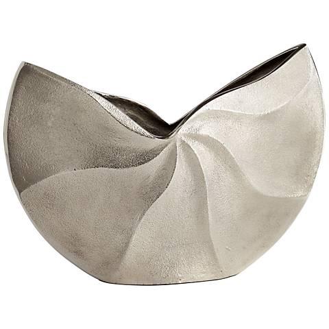 """Varix Large 15"""" Wide Raw Nickel Vase"""