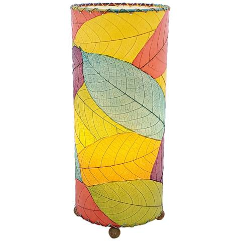 Eangee Cylinder Multi-Color Cocoa Leaves Uplight Table Lamp