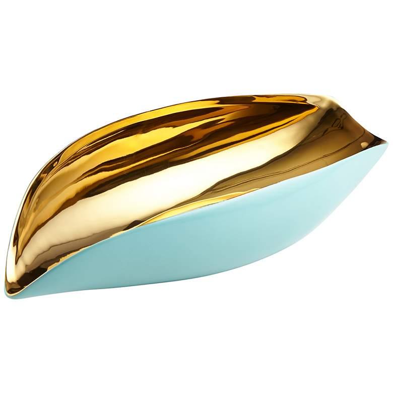 "Mavis 18"" Wide Aqua and Gold Modern Ceramic"