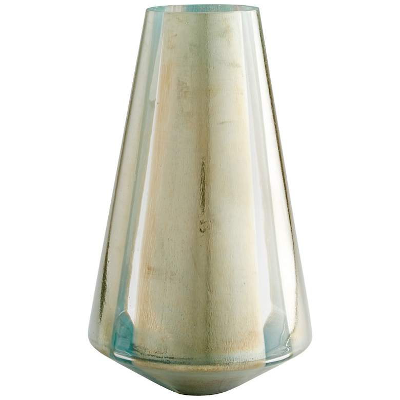 """Star Gate Large 15"""" High Green and Golden Glass Vase"""