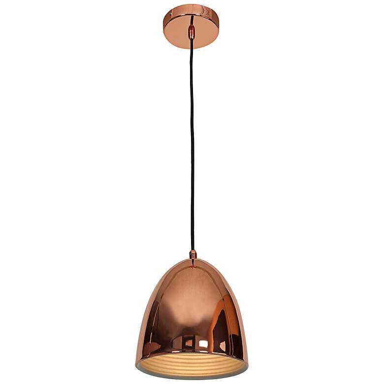 """Essence 8"""" Wide Shiny Copper Dome 1-Light Mini Pendant"""