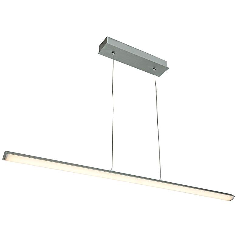 "Float 36"" Wide Silver LED Kitchen Island Light Chandelier"