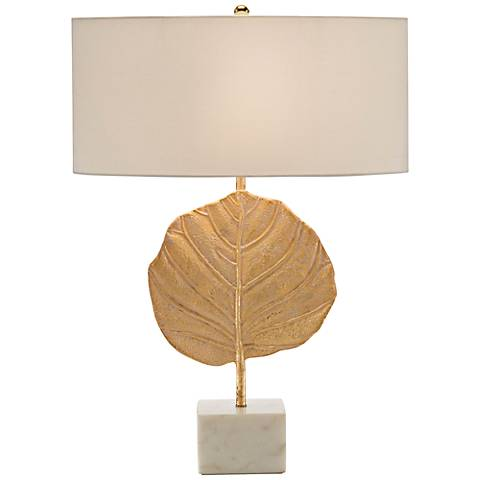 John Richard Plated Golden Leaf Table Lamp