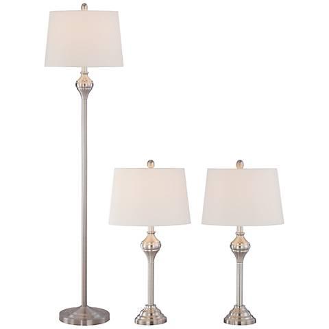 Mason 3-Piece Metal Floor and Table Lamp Set with 9W LED Bulbs