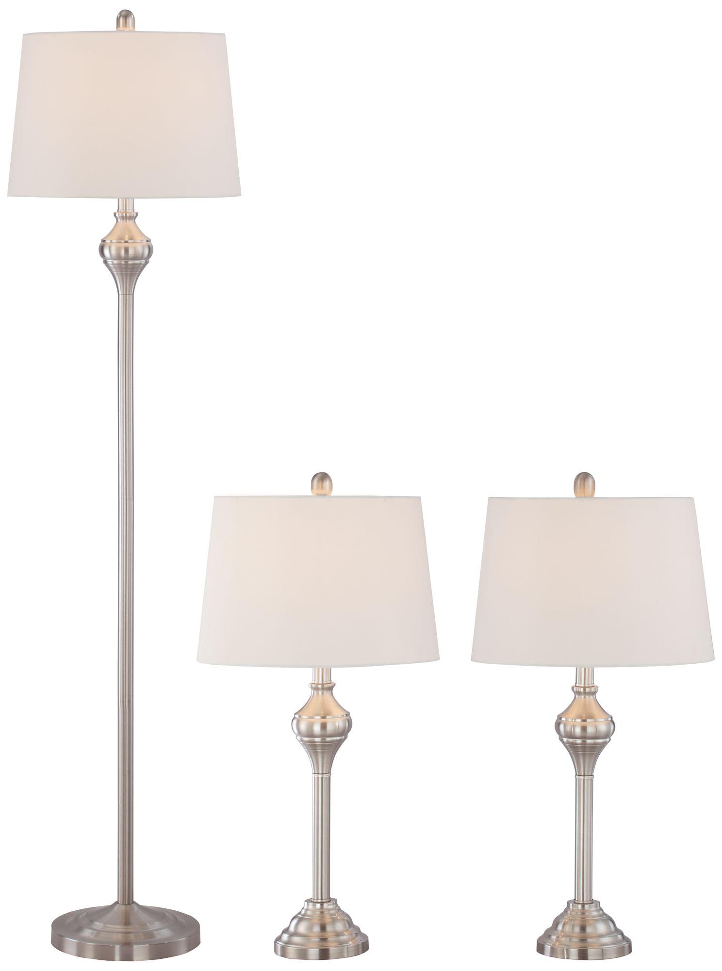 Mason Brushed Steel 3-Piece Floor and Table L& Set  sc 1 st  L&s Plus & Floor Lamp Sets - Matching Table \u0026 Floor Designs | Lamps Plus